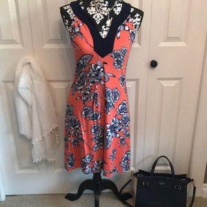 Versatile little navy and orange dress.